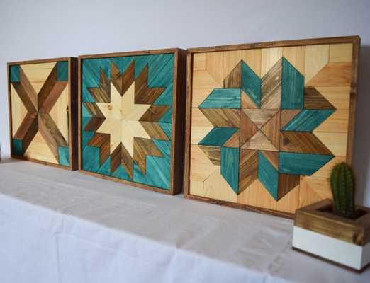 Modern Wooden Wall Hangings - Set of 3 - Etsy