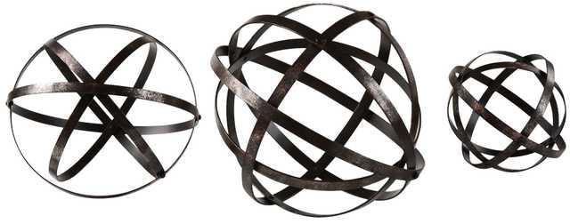 Uttermost Stetson 3-Piece Dark Bronze Sphere Set - Lamps Plus