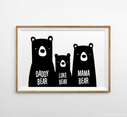 Bear Family Nursery Wall Art 11x14 unframed - Etsy