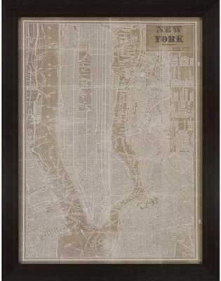"""BLUEPRINT MAP OF NEW YORK WALL ART - 45""""Hx35""""Wx2""""D - framed - Home Decorators"""