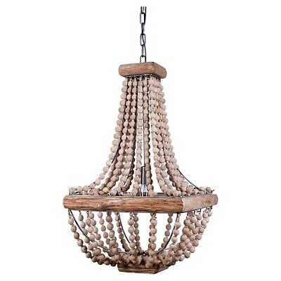 Metal Chandelier with Wood Beads - Target