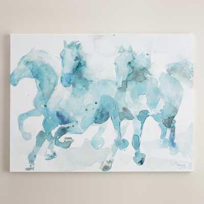 """Watercolor Horses"" - 40""W x 30""H - Unframed - World Market/Cost Plus"