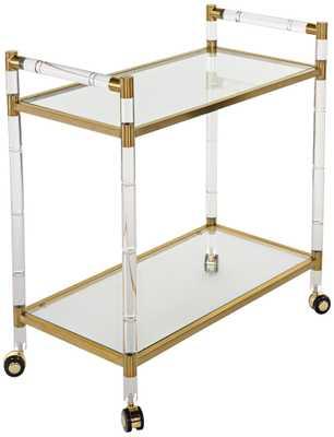 Duval Rectangular Glass 2-Shelf Bronze Brass Bar Cart - Lamps Plus