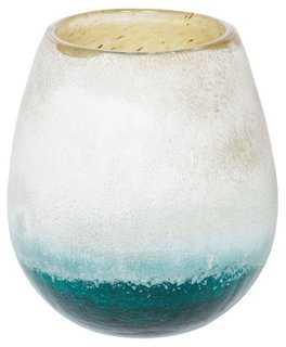 "6"" Glass Candleholder, Turquoise/White - One Kings Lane"