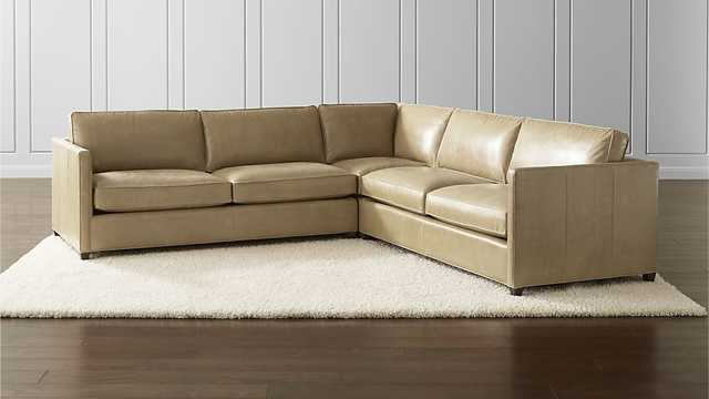 Dryden Leather 3-Piece Sectional - Crate and Barrel
