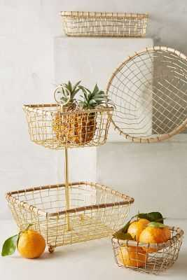 Brushed Wire Fruit Bowl- Tiered basket: - Anthropologie
