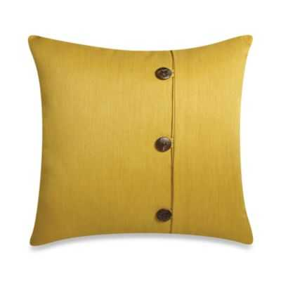 Square Outdoor Throw Pillow with Buttons in Sunkissed - Bed Bath & Beyond