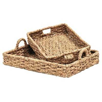 Lamont Seagrass Large Wicker Storage Trays - Set of 2 - Target