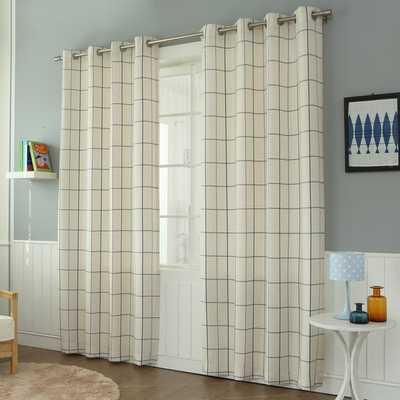 Aurora Home Geometric Grid Printed Linen Blend Grommet Curtain Panel Pair - Overstock
