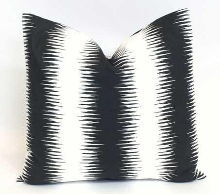 "Black and White Ikat Jiri Stripe Geometric Pillow - 18x18"" - Insert Sold Separately - Etsy"