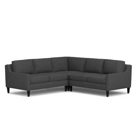 Beverly Upholstered 3-Piece L-Shaped Sectional-Linen Blend-Gunmetal Gray - Pottery Barn