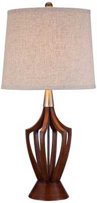 St. Claire Wood Finish Mid-Century Modern Table Lamp - Lamps Plus