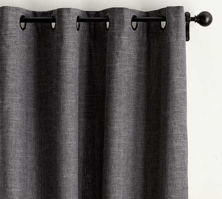 "Emery Linen/Cotton Grommet Drape, Charcoal, 96""L - Pottery Barn"