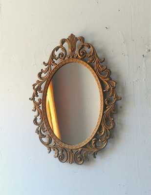Baroque Mirror in Deep Gold Vintage Oval Frame, Vintage Ornate Gold Mirror, Entryway Decor, Paris De - Target