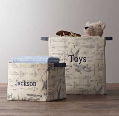 printed canvas storage bins-Small - RH Baby & Child