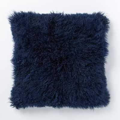 """Mongolian Lamb Pillow, 24""""sq, Velvet ink, no insert - West Elm"""