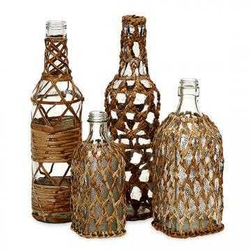 ALMIRA RATTAN GLASS BOTTLES - SET OF 4 - Home Decorators