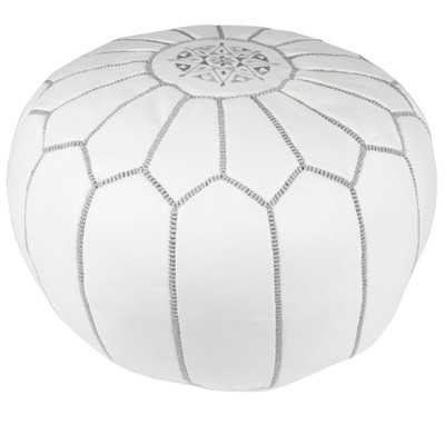 Moroccan Embroidered Pouf Ottoman - Grey on White - Wayfair