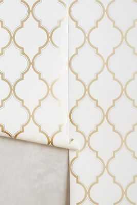 Golden Trellis Wallpaper-Ivory - Anthropologie