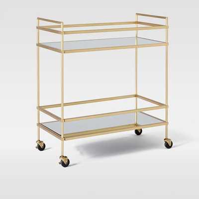 Terrace Bar Cart, Antique Brass/Glass/Mirror - West Elm