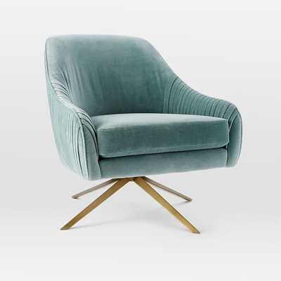 Roar + Rabbit Swivel Chair - Lichen, Como Velvet - West Elm