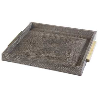 Uma Modern Classic Faux Python Grey Brown Square Tray - Kathy Kuo Home
