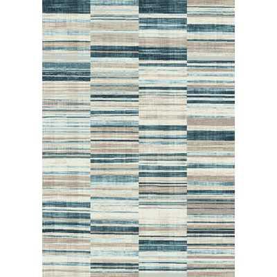 Villa Barcode Floor Cloth Beige/Blue Area Rug - AllModern