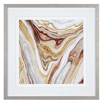 Watercolor Agate 1 - Limited Edition- 29.5''W x 29.5''H- Champagne frame with mat - Z Gallerie