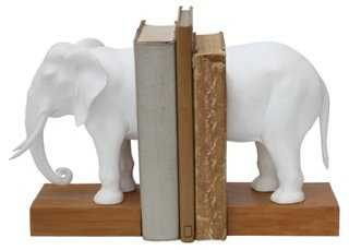 Elephant Bookends, White-set of 2 - One Kings Lane