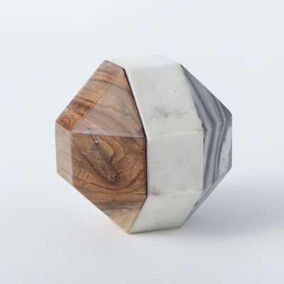 Marble + Wood Geometric Objects - Octahedron - Large - West Elm