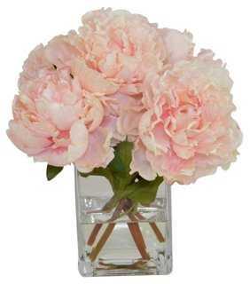 Pink Peonies in Glass Vase, Faux - One Kings Lane