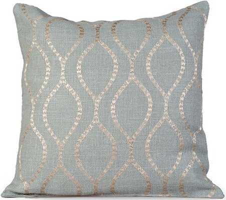 "ESME EMBROIDERED BURLAP PILLOW - Charlotte Blue - 20"" sq. - With insert - Home Decorators"