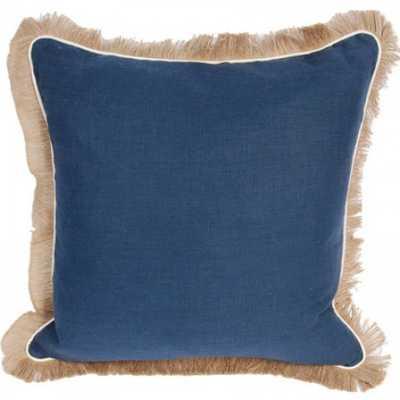 Linen with Jute Fringe Navy Linen/Eggshell Pipe Pillow - graciousstyle.com