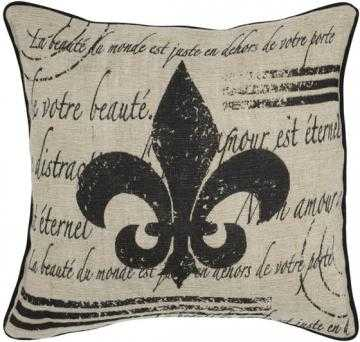 "Fleur de Lis Pillow 18"" x 18"" with insert - Home Decorators"