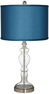 Blue Faux Silk Apothecary Clear Glass Table Lamp - Lamps Plus