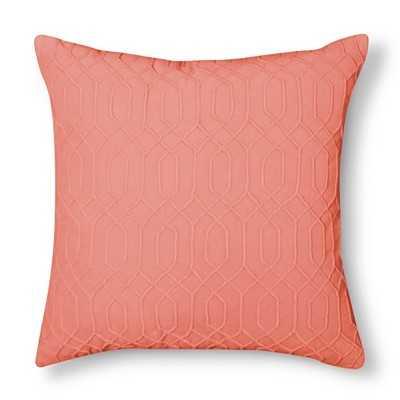 Velvet Decorative Pillow - Coral - 20.000 L x 20.000 W- Polyester fill insert - Target