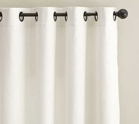 "Emery Linen/Cotton Grommet Drape-Blackout Lining-Ivory-84"" - Pottery Barn"