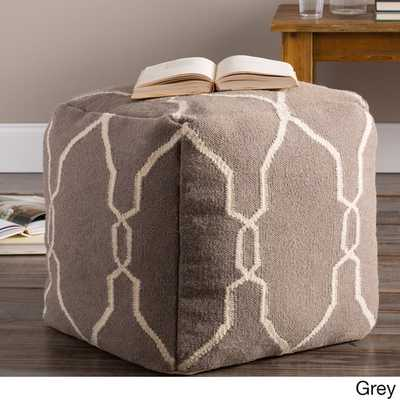 Hand Crafted Mila Lattice 18-inch Square Pouf - Grey - Overstock