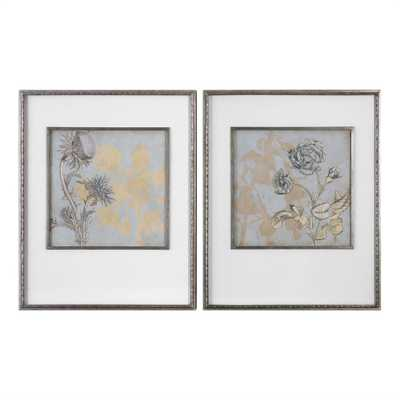 Shadow Florals, S/2 - 26 W X 33 H (in) - Champagne Silver Frame with Mat - Hudsonhill Foundry