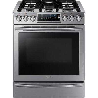 Slide-In Gas Range with Self-Cleaning Convection Oven in Stainless Steel - Home Depot