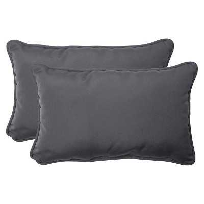 "Sunbrella® Canvas Outdoor 2-Piece Lumbar Throw Pillow Set-Grey-Insert-18'5""x11'5"" - Target"