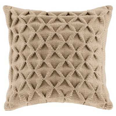 """Waffle Knit Square Pillow - Tan (20""""x20"""")-  Feather insert - Target"""