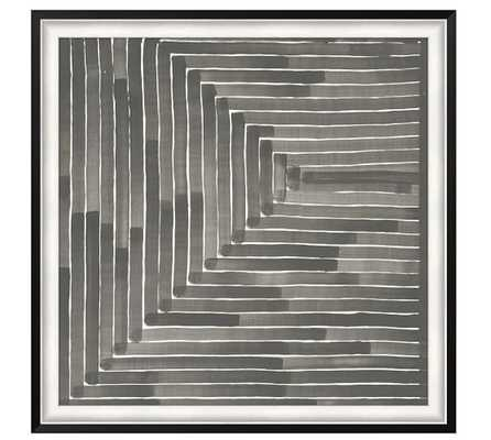 Neutral Labyrinth Print - 45.5x45.5, Framed - Pottery Barn