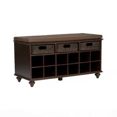 Upton Home Kelly Espresso Brown Shoe Bench - Overstock