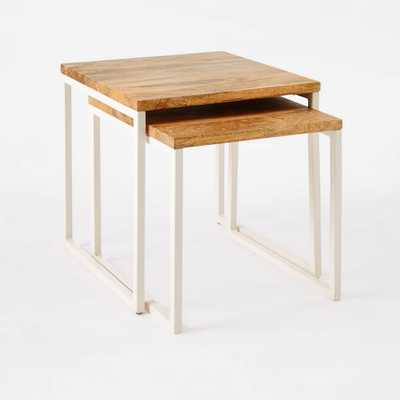 Box Frame Nesting Tables - Raw Mango/White - West Elm