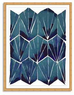 "Kate Roebuck, Blue Tile on Tan Print - 19"" x 24"" (Gold arquadia frame) - One Kings Lane"