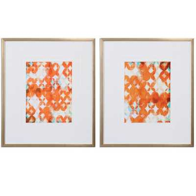 "Overlapping Modern 2 Piece Framed Painting Print Set-27.75"" H x 23.75"" W x 1"" D - AllModern"