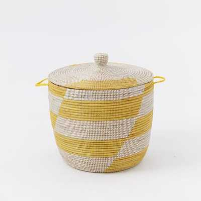 Graphic Printed Oversized Basket- Yellow Stripes - West Elm
