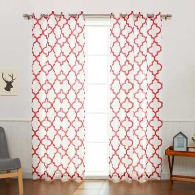 """Oxford Basketweave Curtain Panel - Beige, 84""""L - Wayfair"""