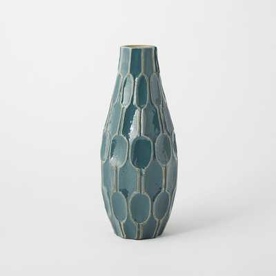 Linework Vase, Honeycomb, Tall Teardrop, Blue Lagoon - West Elm